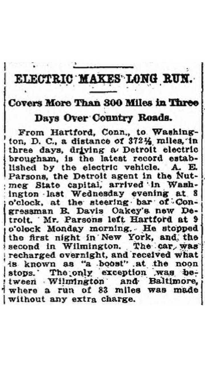 Back in 1915, Electric Vehicle Covered 372 Miles in 3 Days