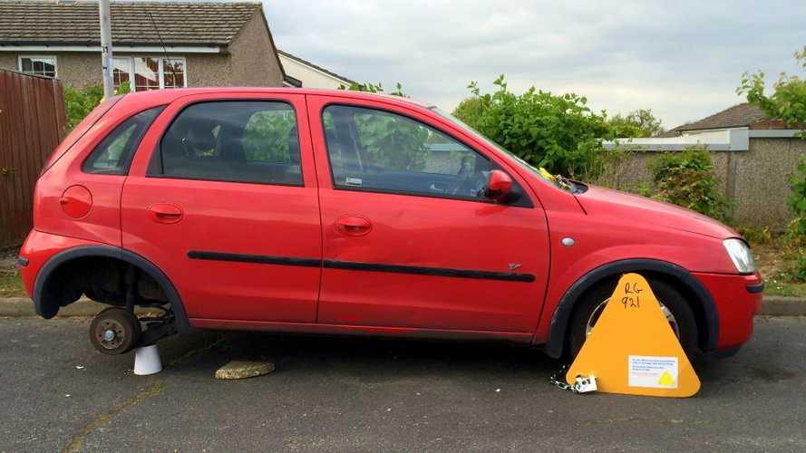Car fitted with a wheel clamp for non-payment of vehicle road tax in England