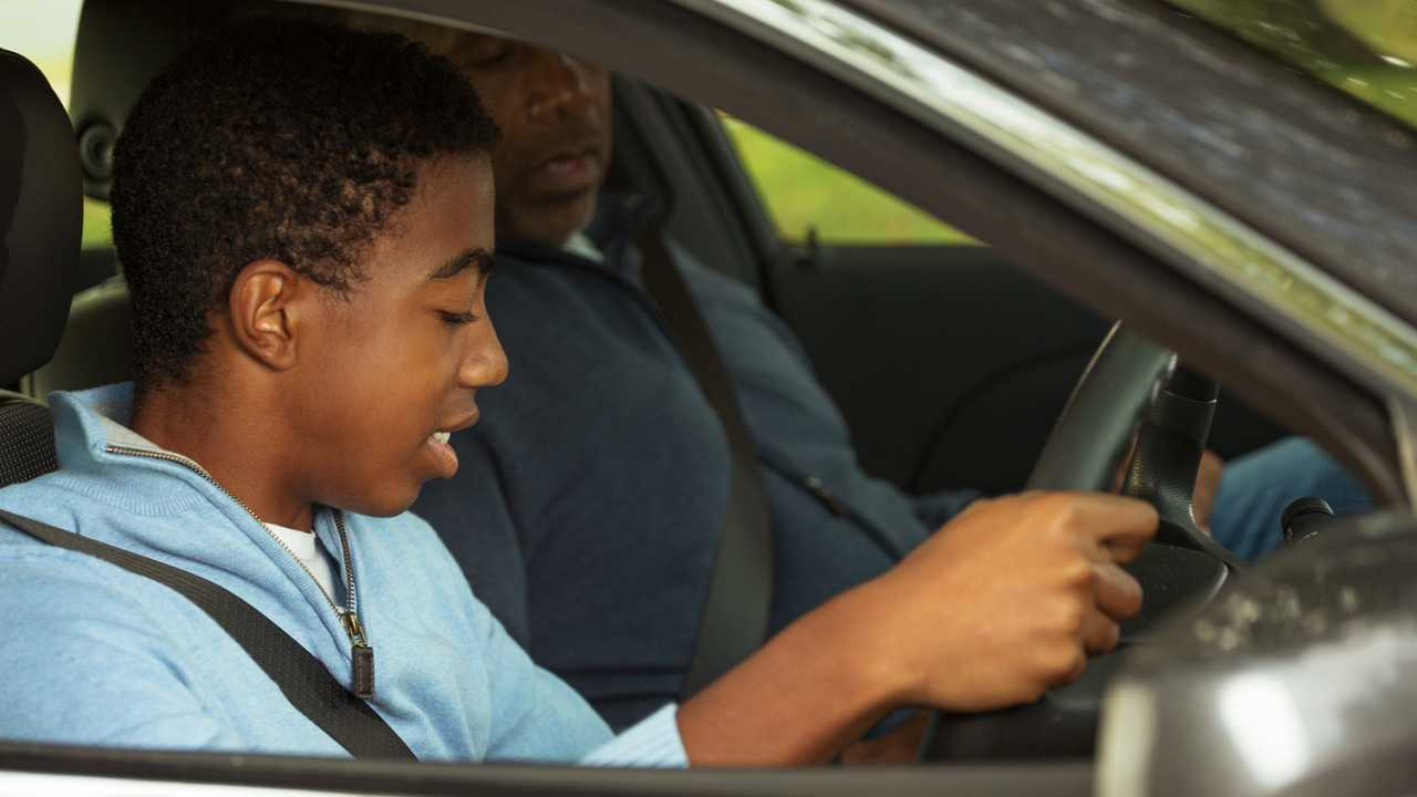 Teenager learning how to drive