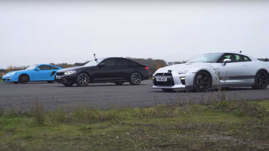 BMW M5 Competition Drag Races Tuned 911 Turbo, Nissan GT-R