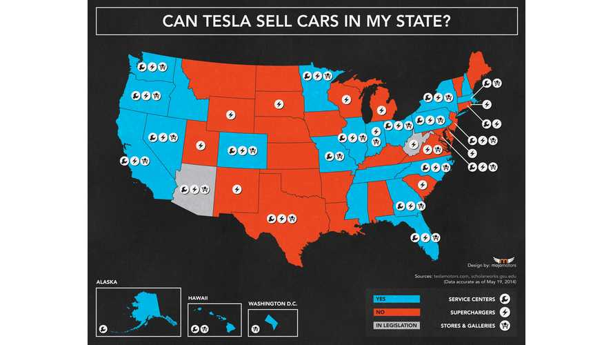 Infographic: In Which States Tesla Can And Can't Sell Model S