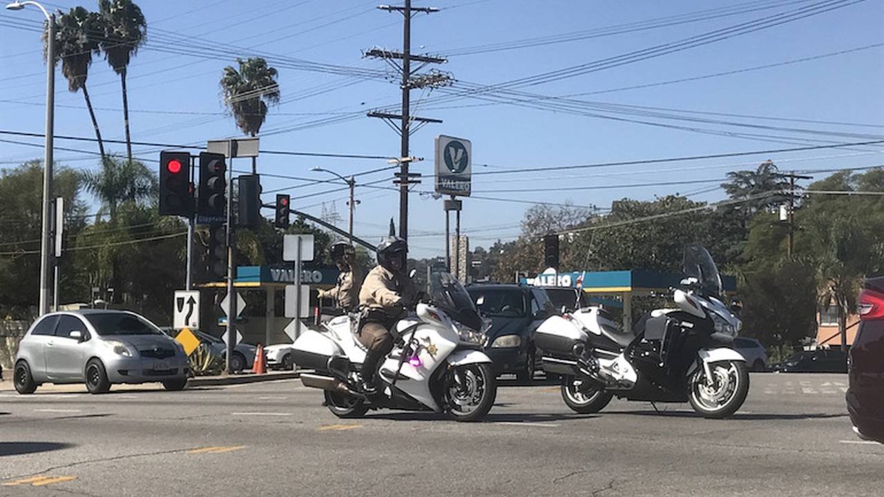 Los Angeles Police utilizing part of its two-wheeled fleet.