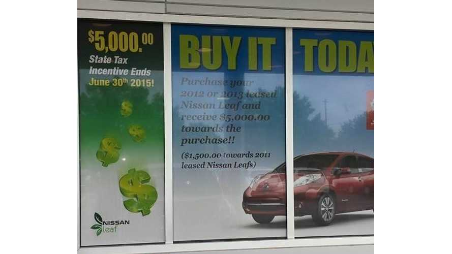 Currently Leasing A 2012 Or 2013 LEAF? Nissan Now Offers $5,000 Credit Towards Purchasing Your Leased LEAF