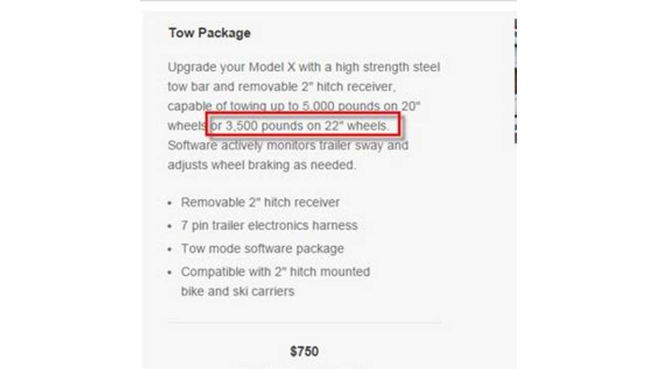 Tesla Model X Towing Capacity Reduced To 3,500 Pounds With 22-Inch Wheels