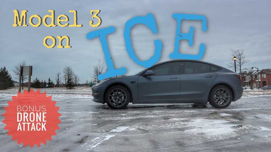 Tesla Model 3 Rear-Wheel-Drive Tested On Sheet Of Ice: Video