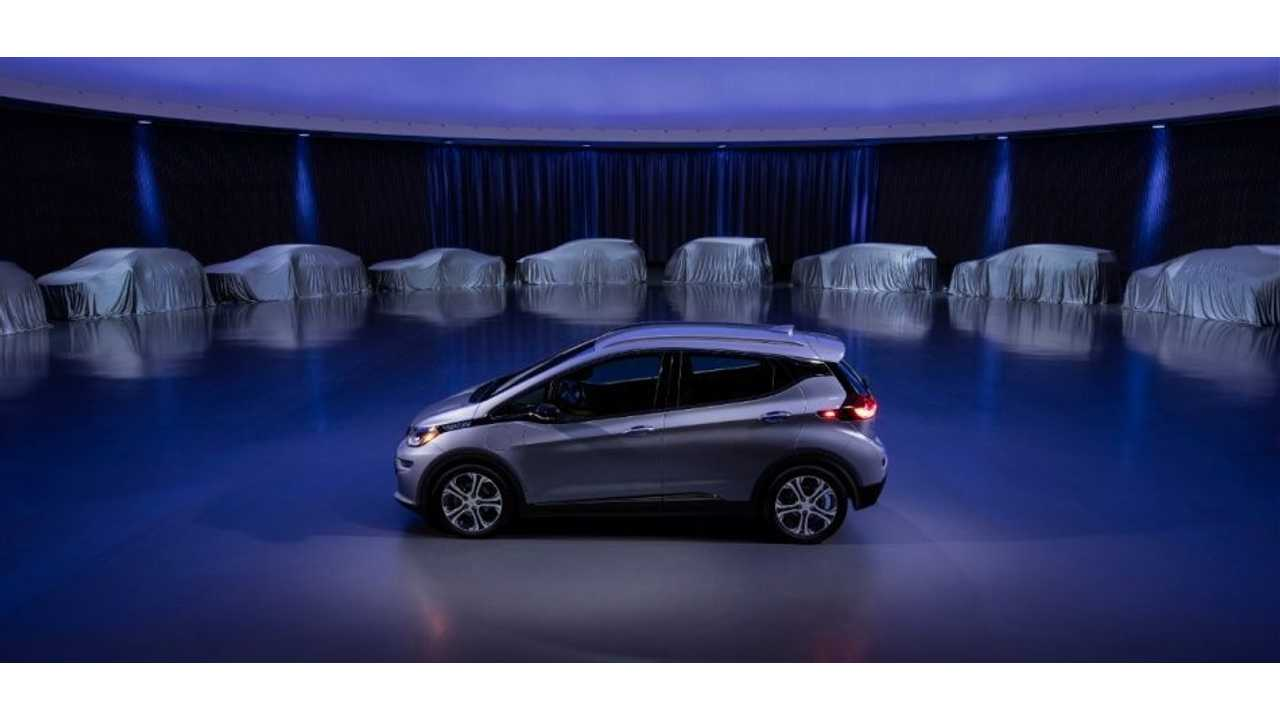GM's Chevy Bolt EV (seen here flanked by the automaker's