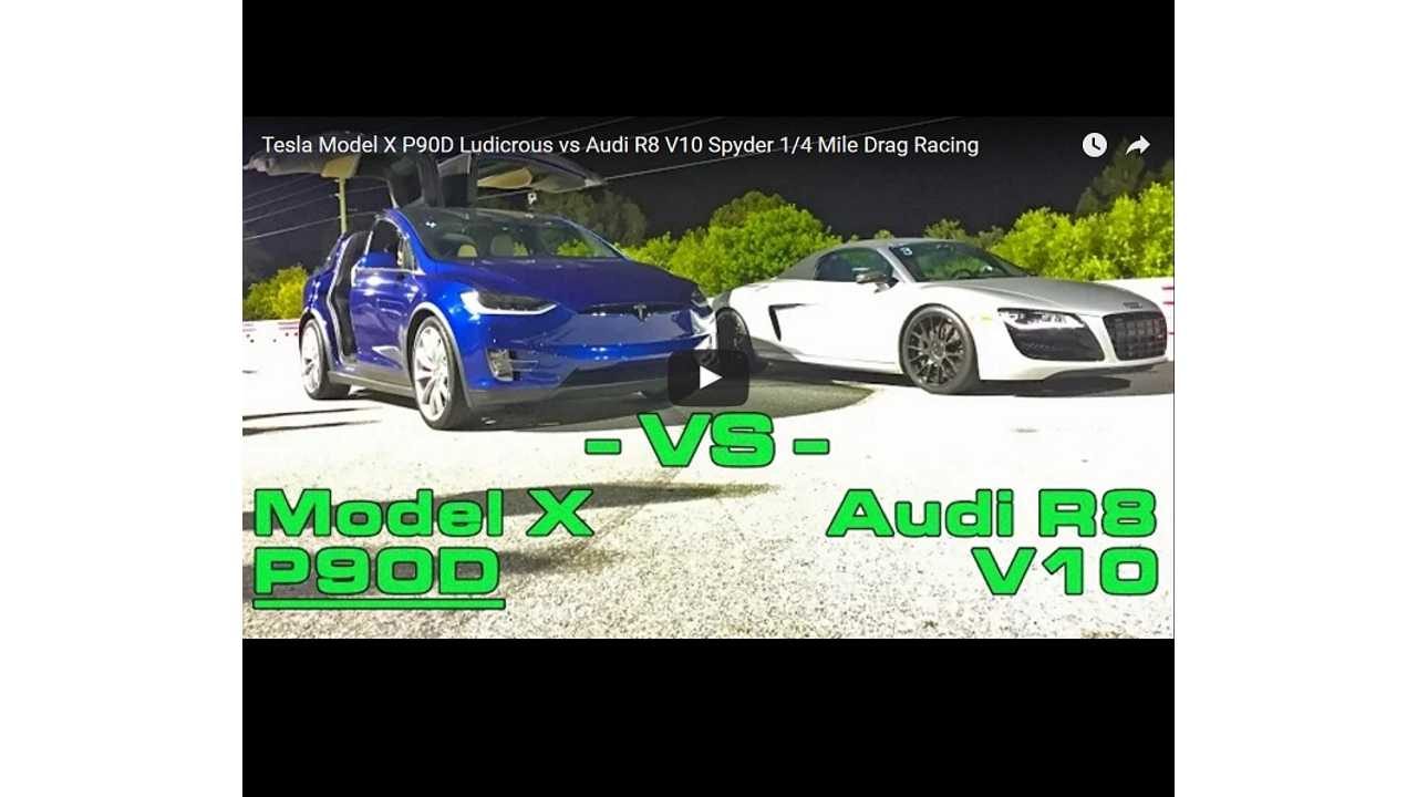 Tesla Model X P90DL Versus Audi R8 V10 Spyder - DragTimes Race Video