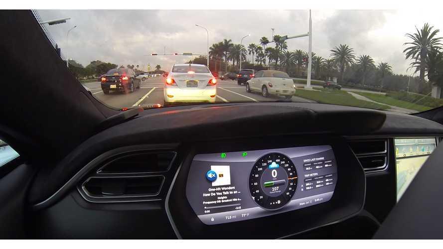 Tesla Model S P85D Partial Autopilot Demo - Video