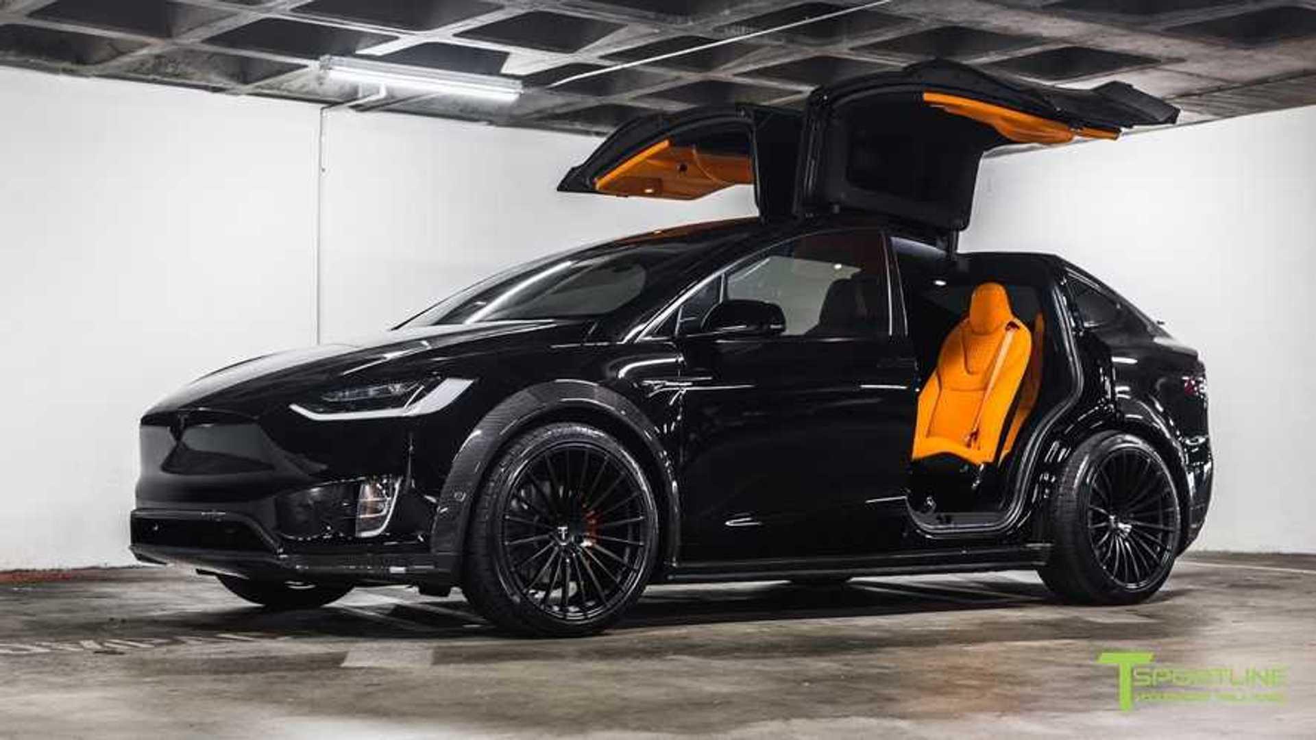 Check Out Tesla Model X Widebody With Orange Lamborghini Interior