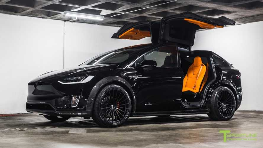 Check Out Tesla Model X Widebody With Orange Lamborghini Interior