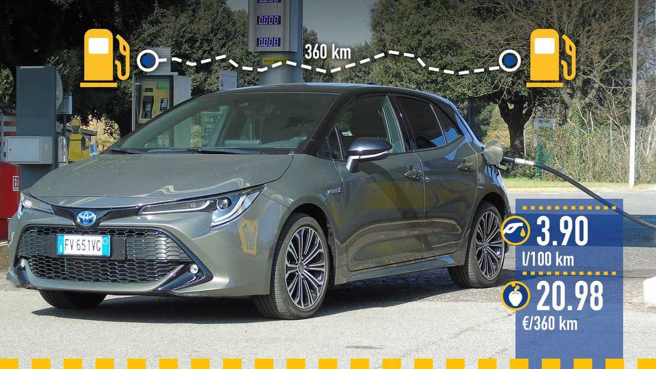 Toyota Corolla Hybrid, la prova consumi