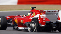 Felipe Massa with Pirelli tire puncture, British Grand Prix,  30.06.2013