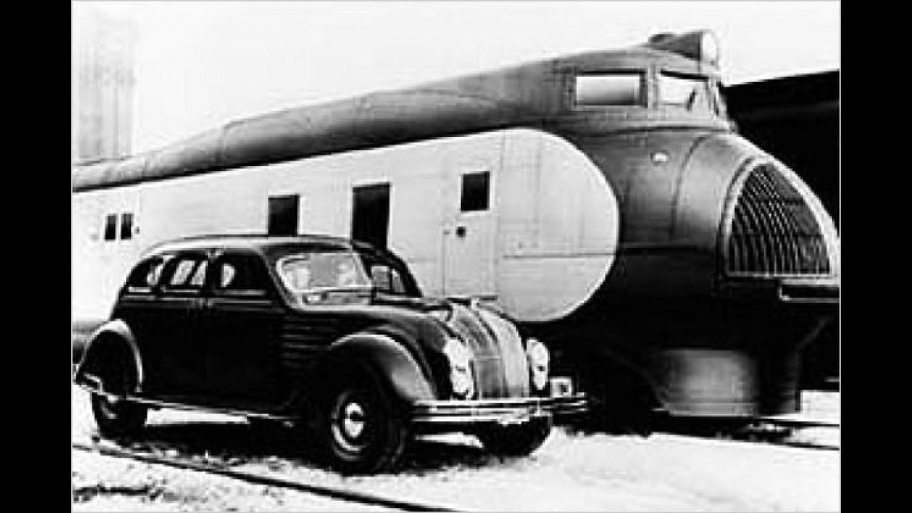 Mit dem Chrysler Airflow zog die Stromlinienform in die amerikanische Automobilindustrie ein. 1934 stand der windschlüpfig gezeichnete Wagen in Genf