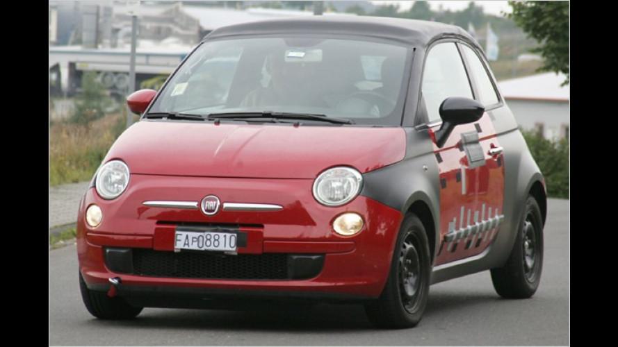 Bei Testfahrten erwischt: Der offene Fiat 500 kommt