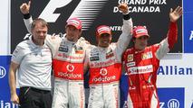 2nd place Jenson Button (GBR), McLaren Mercedes with 1st place Lewis Hamilton (GBR), McLaren Mercedes and 3rd place Fernando Alonso (ESP), Scuderia Ferrari, Canadian Grand Prix, Sunday Podium, 13.06.2010 Montreal, Canada