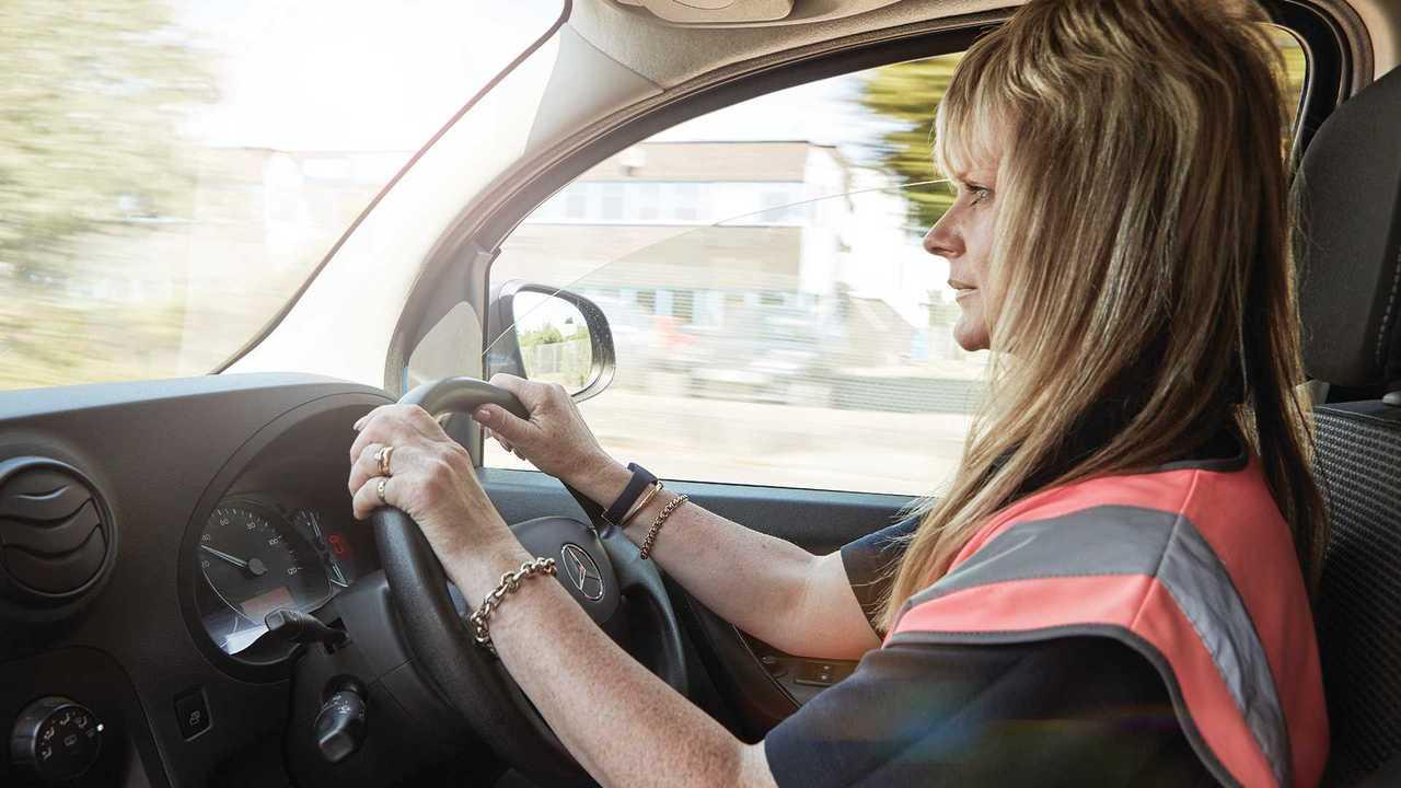 Woman driving Mercedes-Benz Citan van