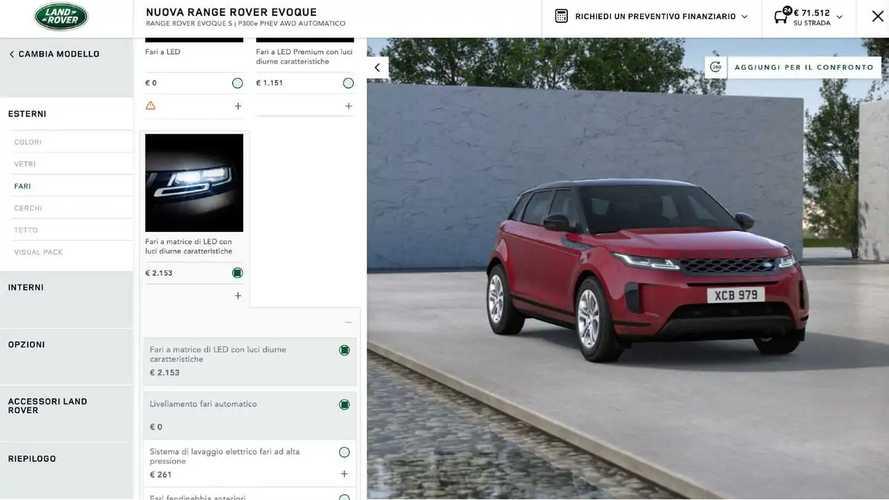 Range Rover Evoque, Come Configurarla