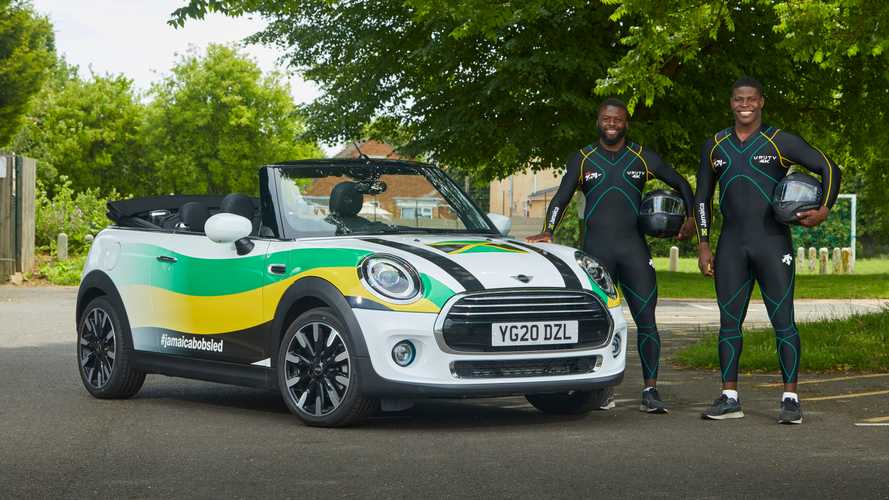 Jamaican national bobsleigh team trains with a Mini