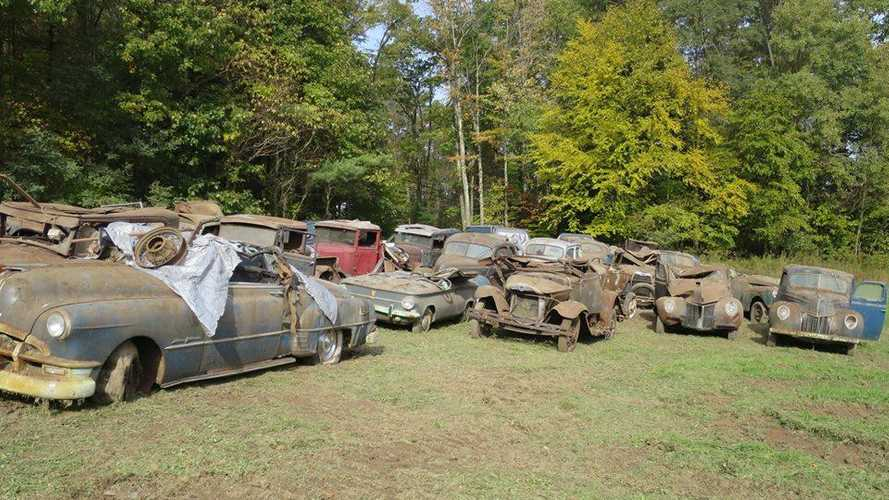 Three-dozen classic cars saved from collapsed barn