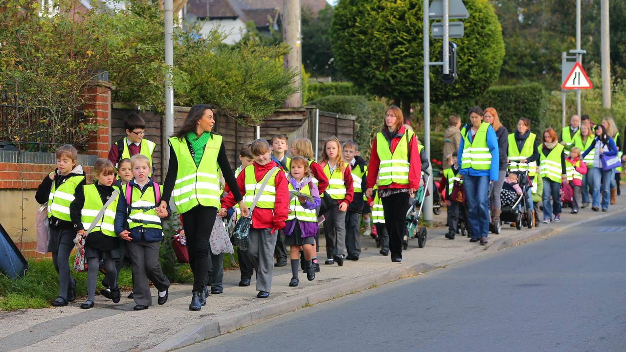 British schoolchildren in a walking bus