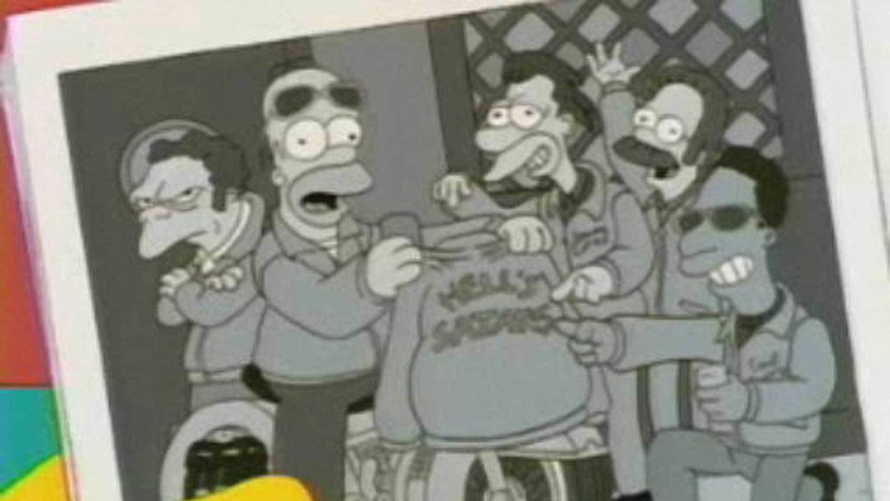 The Springfield Hell's Satans as they appeared in Simpson's magazine article. From left to right - M. Szyslak, H. Simpson, L.Leonard, N. Flanders, C. Carlson.