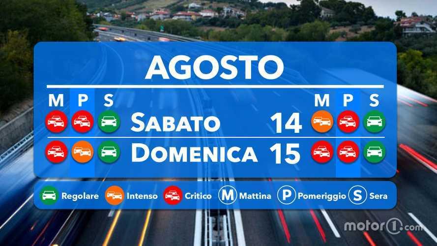 Le previsioni del traffico per il weekend 14 e 15 agosto