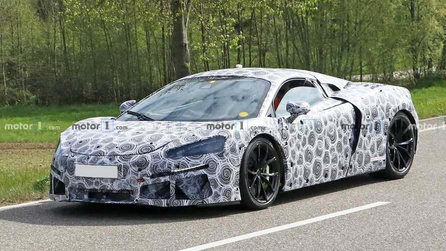 McLaren 570S successor spied with production body, hybrid sticker