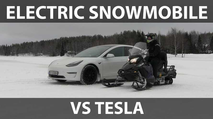 Tesla Model 3 Tested On Snow Versus Electric Snowmobile
