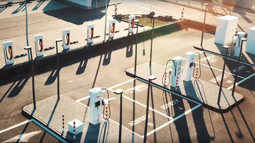 New Highway Charging Park In Germany: 20 Tesla & IONITY Chargers