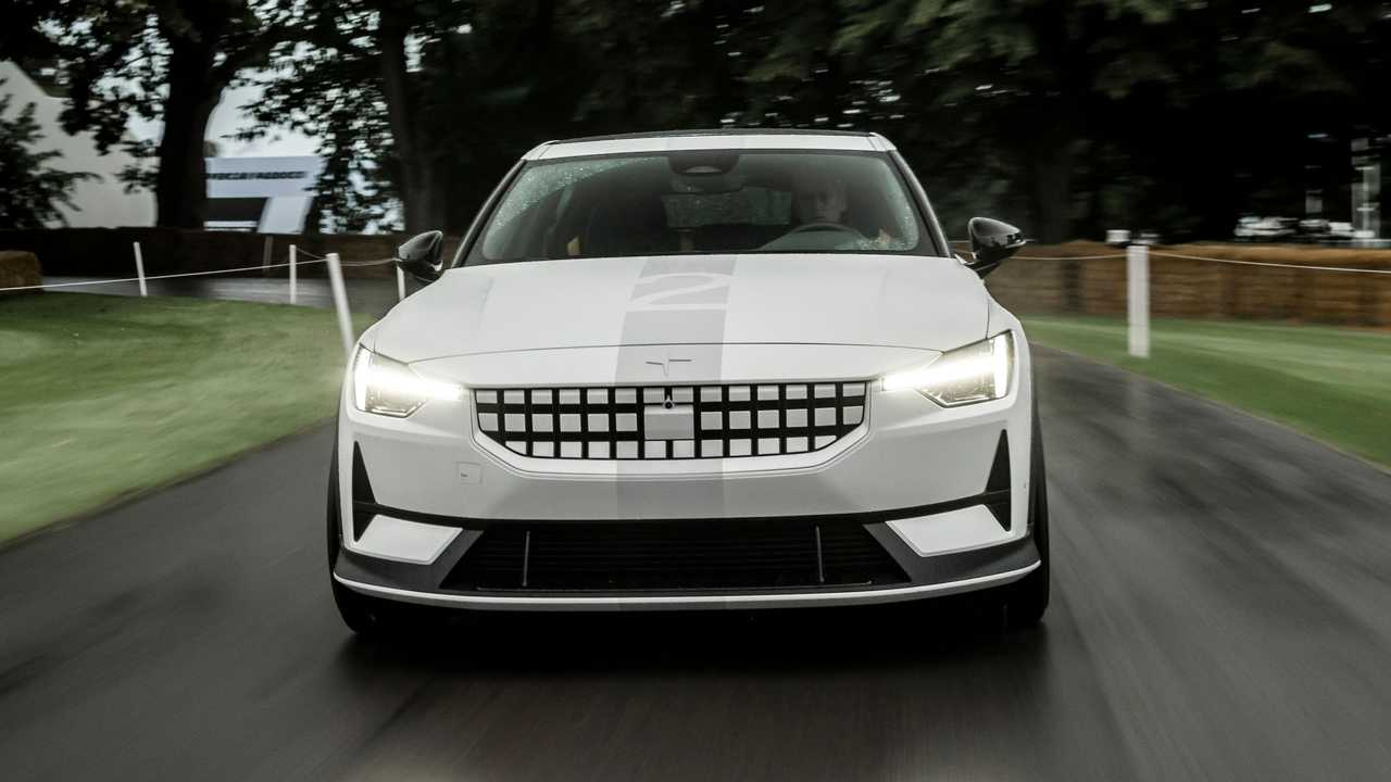 The experimental Polestar 2 at the 2021 Goodwood Festival of Speed.