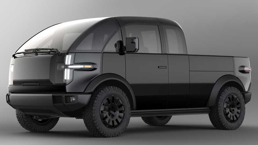 Canoo electric pickup revealed with pull-out bed and side storage
