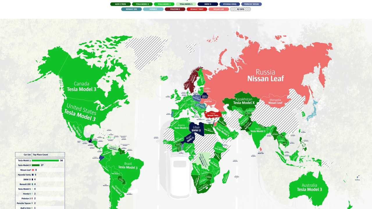 Most searched EV in the world map