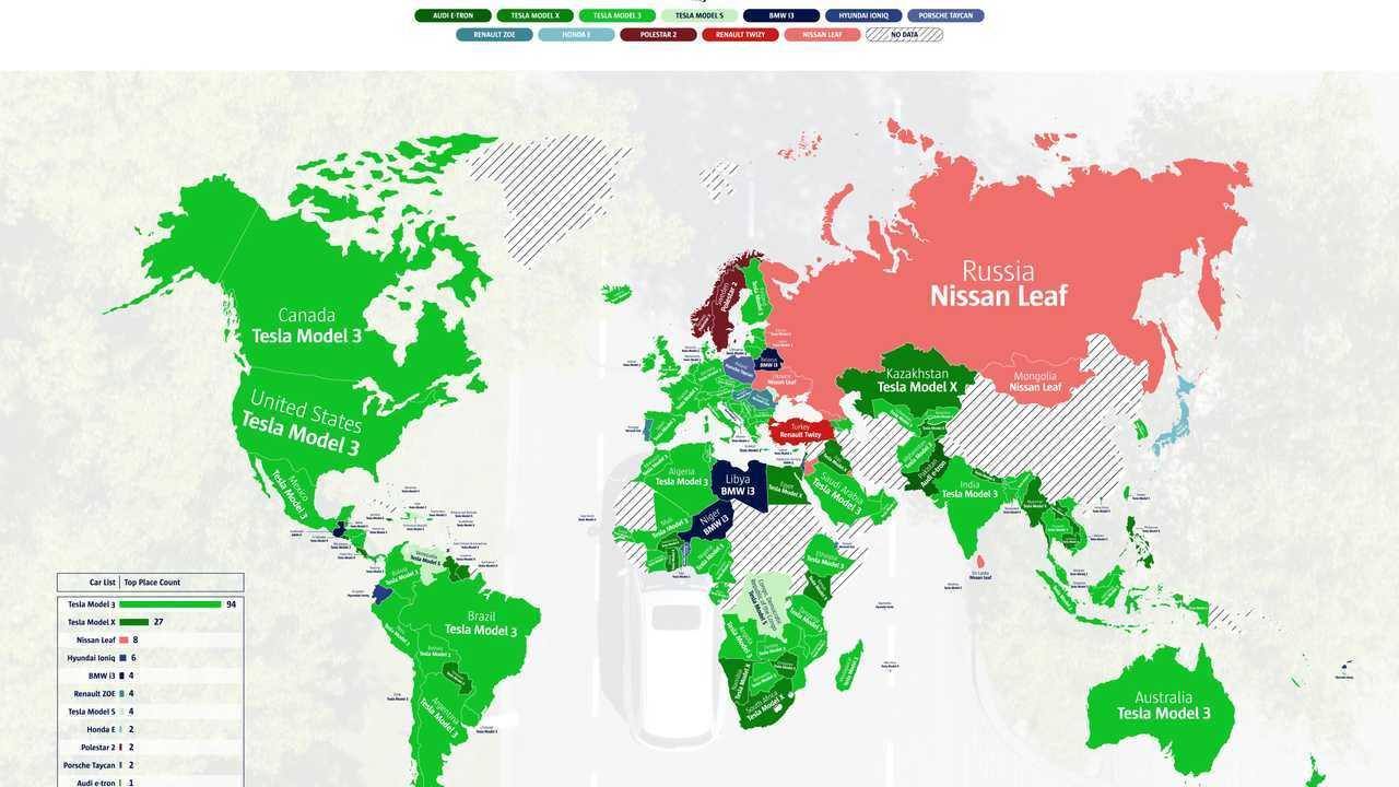 Dünyada Ülke Bazında İnternette En Çok Aratılan Elektrikli Otomobiller