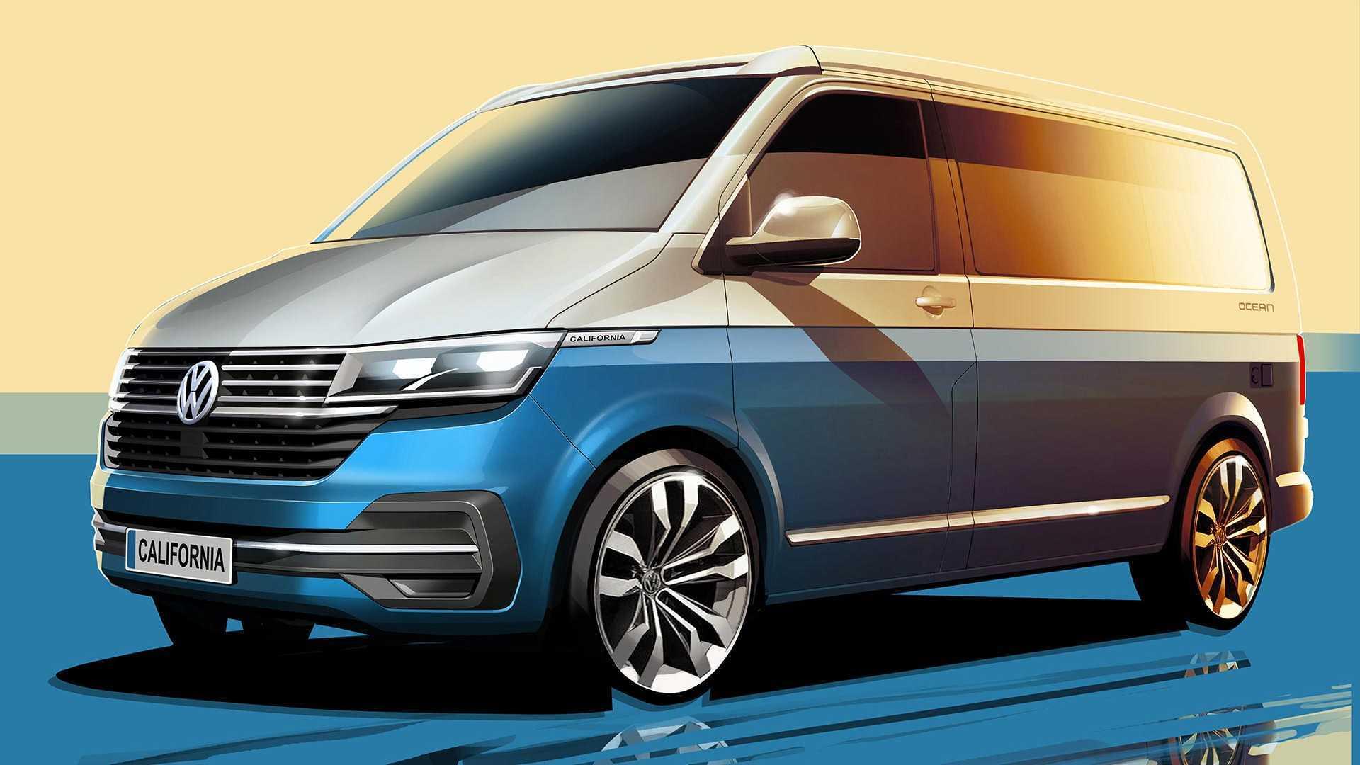 VW Transporter Каліфорнія 6.1 Camper teased з багато більше техніки