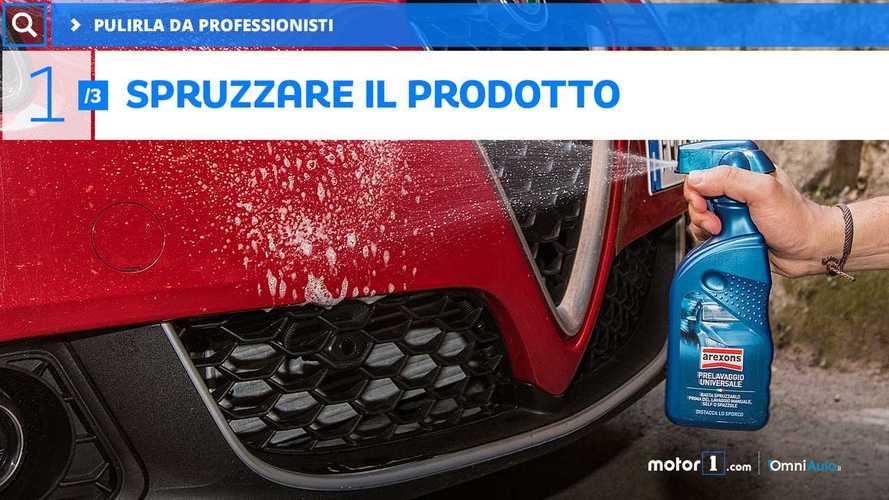 Pulizia auto: prelavaggio e shampoo con cera