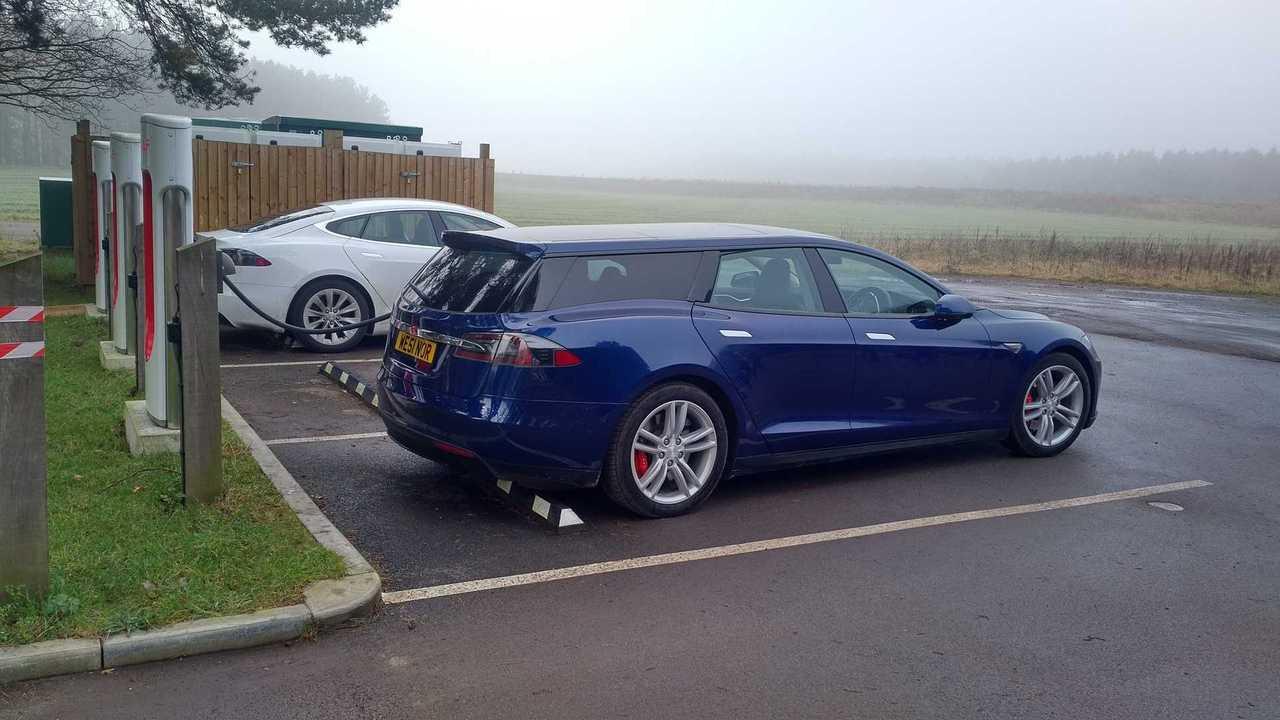Tesla Model S Shooting Brake Shows Off Its Finished Blue Bod