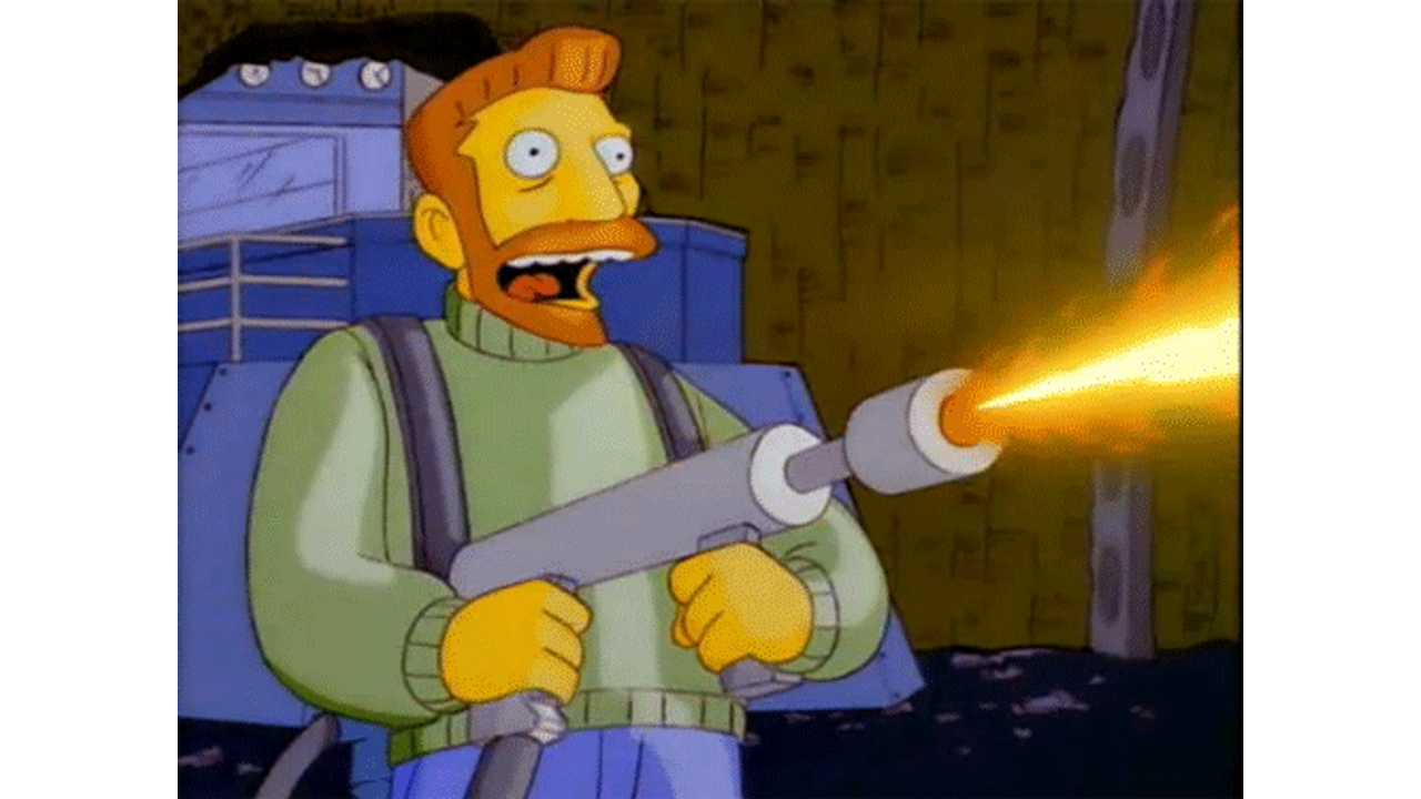Hank Scorpio wields a flamethrower on The Simpsons