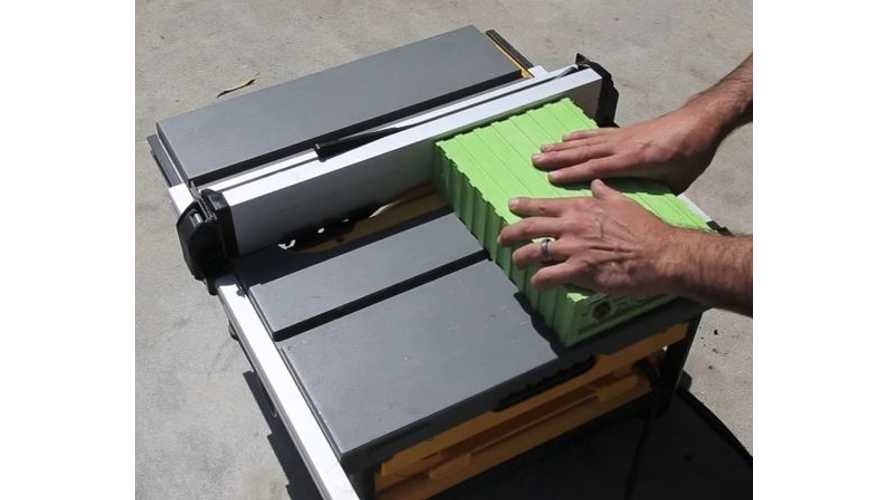 EV West Cuts Open Lithium-Ion Battery With A Table Saw - Video