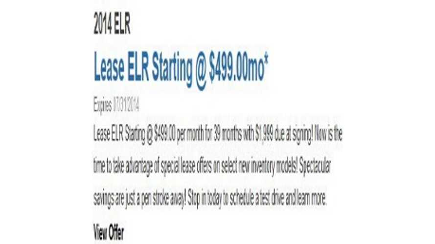 Cadillac ELR Lease Deal - $499 Per Month, $1,999 Down