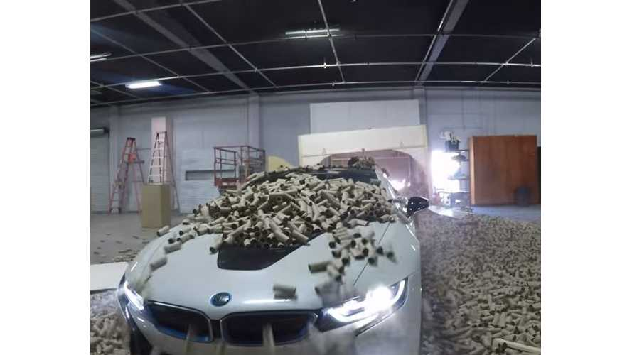 BMW i8 Prank Involves Thousands Of Toilet Paper Tubes - Video