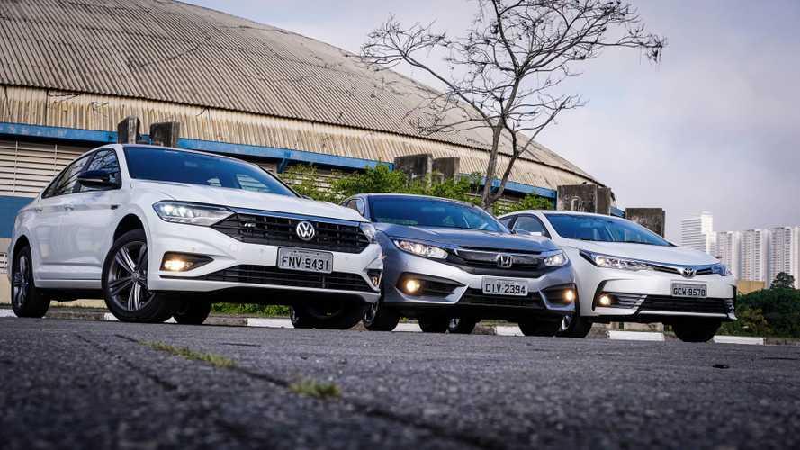 Comparativo: Novo VW Jetta encara Honda Civic e Toyota Corolla