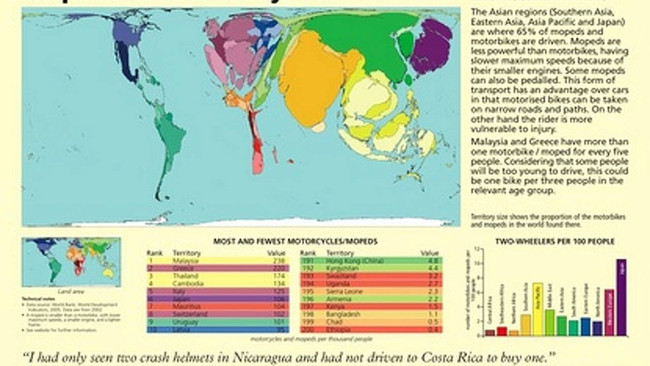 Planet bike: countries mapped by motorcycles