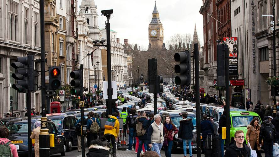 Taxi driver protest Uber in London's Whitehall 02.2016