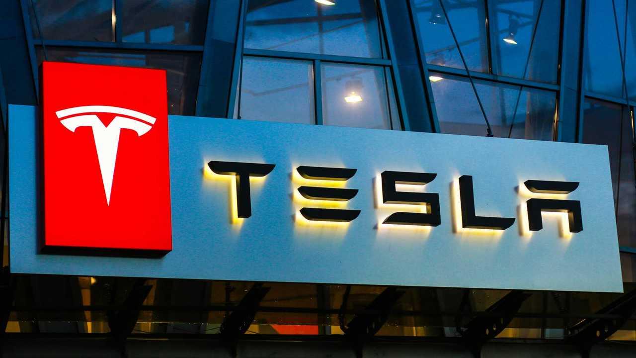 Tesla sign on building in Ukraine