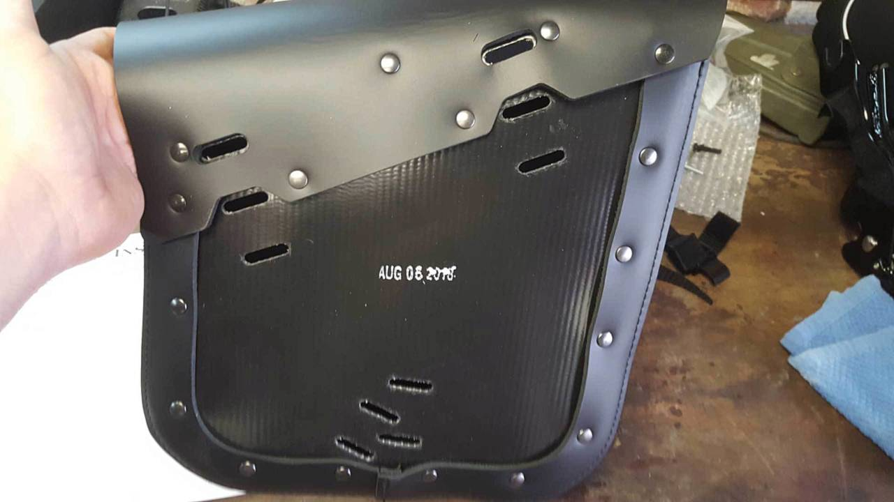 The back of the bag showing the various mounting slots.
