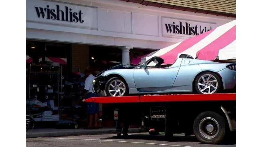Tesla Roadster Crashes into Wishlist Clothing Store in Connecticut