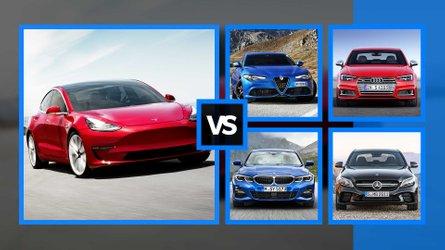 El Tesla Model 3 frente a sus rivales no eléctricos