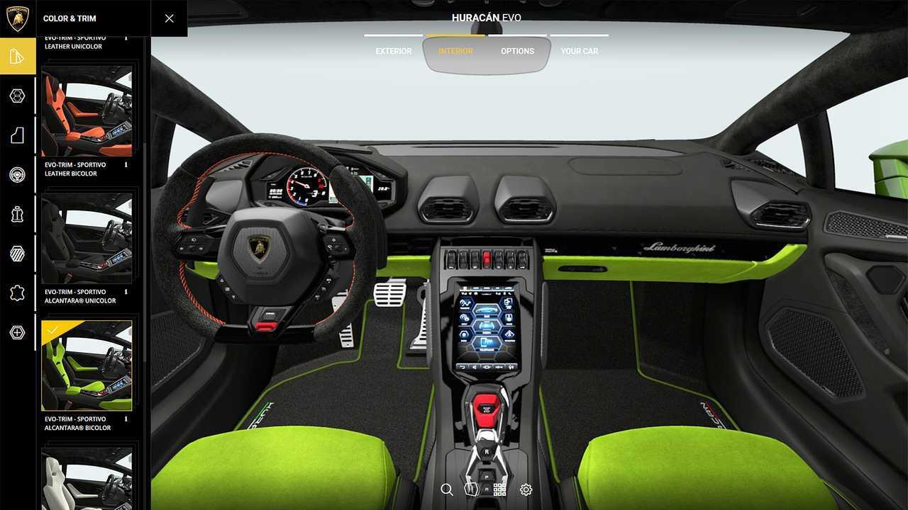 Lamborghini Huracan Evo, il configuratore online