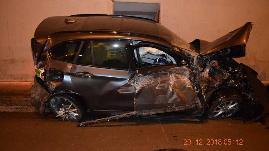 Sleepy BMW Driver Spectacularly Crashes Into The Top Of A Tunnel