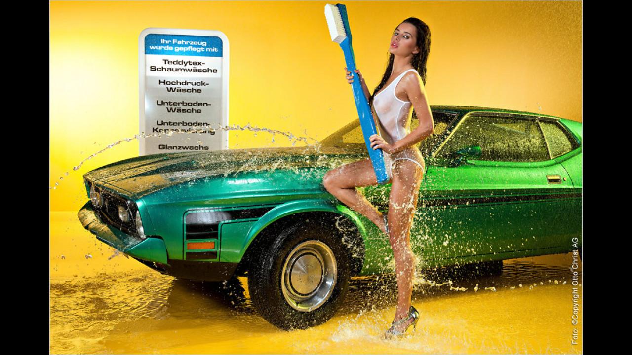 Wichtigste Regel für die Autowäsche: Immer schön schrubben, bis auch wirklich alles sauber ist!